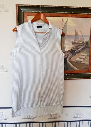 Легкая элегантная рубашка блуза блузка в полоску без рукавов брендовая
