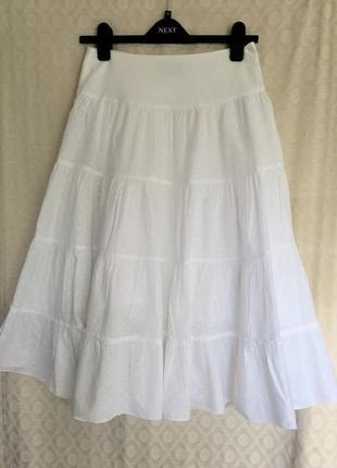 Белоснежная юбка миди из тонкого котона на подкладке