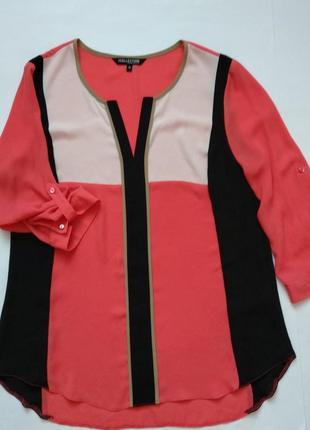 Контрастная шифоновая блузка от debenhams p.m рукава 3/4