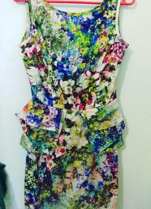 Супер платье river island мини цветочный принт на s/m