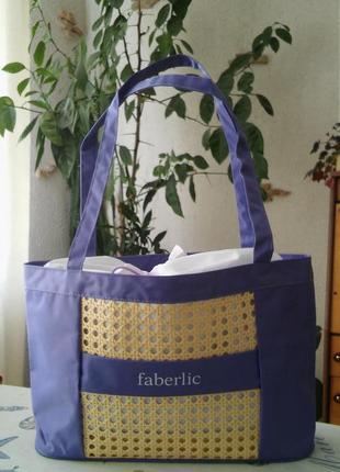 Летняя фиолетовая сумка с соломкой