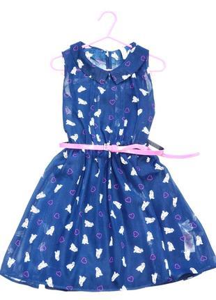 Шифоновое платье в сердца и собачки yd на 7-8 лет. пояс в подарок.