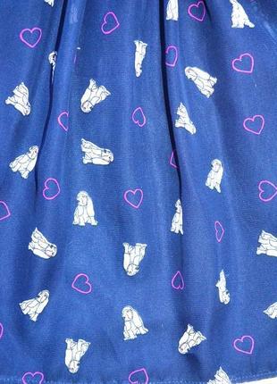 Шифоновое платье в сердца и собачки yd на 7-8 лет. пояс в подарок.2