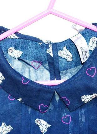 Шифоновое платье в сердца и собачки yd на 7-8 лет. пояс в подарок.3