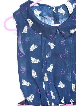 Шифоновое платье в сердца и собачки yd на 7-8 лет. пояс в подарок.4