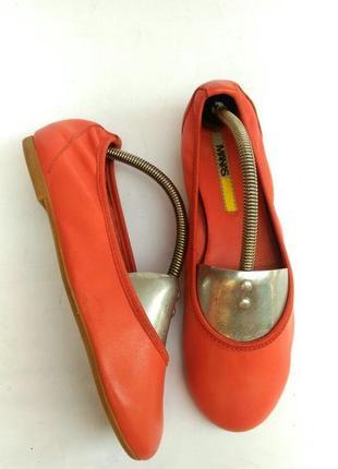 Яркие стильные легкие кожаные балетки manas, коралловые, оранжевые