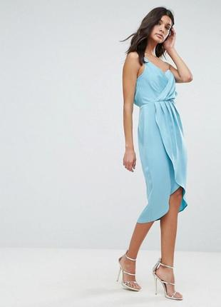 Голубое платье с запахом asos, р-р 8
