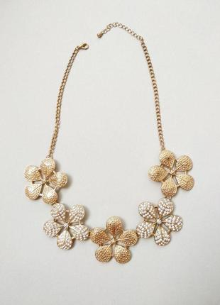 Золотое колье с камнями украшение на шею ожерелье forever 21