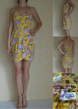 Яркое хлопковое платье в цветочный принт.