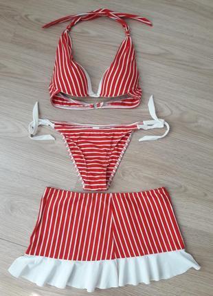 Купальник- пляжный костюм в полоску 3 в1 юбка с воланом