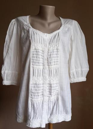 Нежная блуза хлопок кружево marks&spencer британия