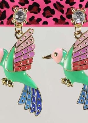 Серьги-гвоздики колибри