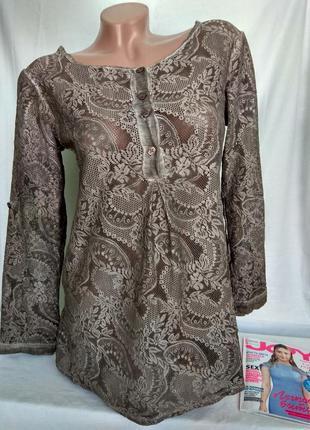 Кружевная блуза цвета капучино р. s /м, от deichgraf