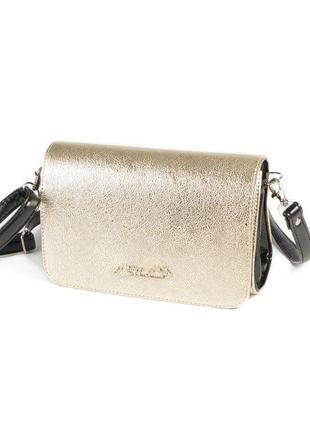 Золотистая маленькая сумка-клатч через плечо с черными вставками