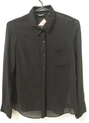 Черная блузка рубашка шифоновая длинный рукав