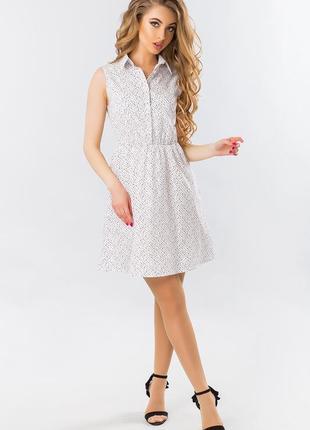 Белое платье рубашка летнее без рукавов