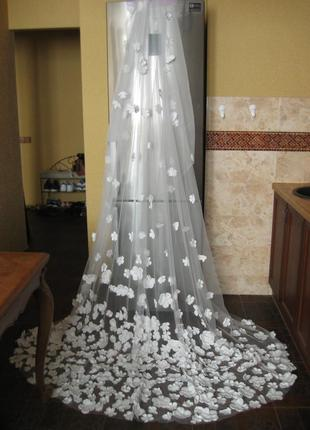 Свадебная фата словно из сказки айвори шлейф3