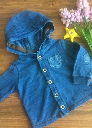 Супермодная трикотажная летняя кофта,пиджак с капюшоном next 6-9 месяцев.