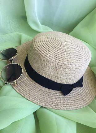 Соломенная шляпа канотье / летняя шляпа / головной убор