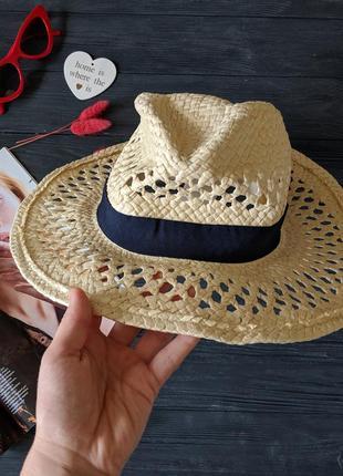 Соломенная шляпа шляпка капелюх канотье с черным ободком