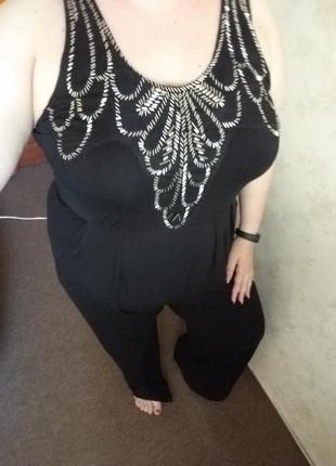 Комбинезон майка с красивыми украшениями большой размер 50 52 54