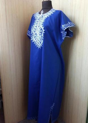 Длинное платье туника тонкий хлопок с вышивкой l/xl