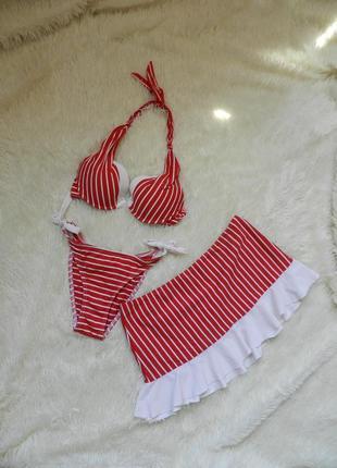 Купальник с высокими плавками. юбка в комплекте
