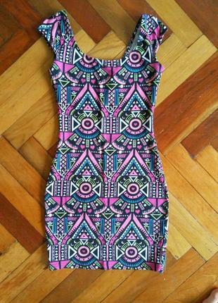 Яркое обтягивающее платье h&m