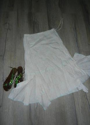 Sisley бежевая широкая длинная льняная юбка,лен s/м-38/40