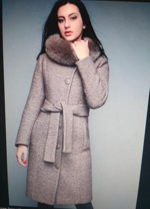 Теплое зимнее пальто цвета марсала