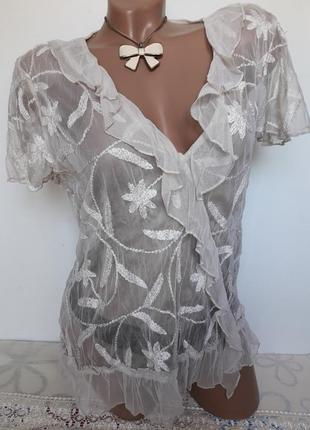 Блуза сетка с вышивкой...