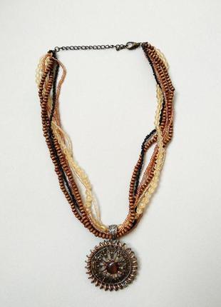 Украшение на шею в этническом стиле этно ожерелье колье из бусин и бисера