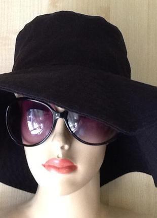 Чёрная котоновая шляпа-панама с широкими полями от monki-56