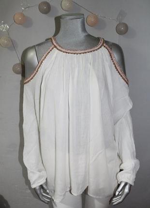 Белая блуза рубашка с открытыми плечами zebra