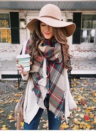 Фирменный качественный стильный мягкий тёплый большой шарф.
