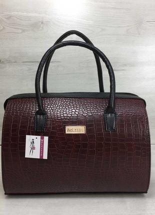 Бордовая сумка-саквояж деловая каркасная с черными вставками