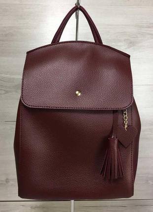 Бордовый женский рюкзак-сумка через плечо трансформер2