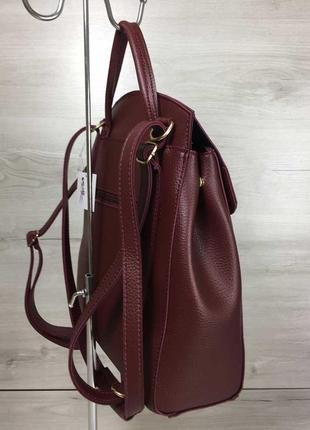 Бордовый женский рюкзак-сумка через плечо трансформер3