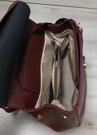Бордовый женский рюкзак-сумка через плечо трансформер5