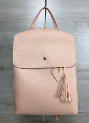 Сумка-рюкзак трансформер женский летний через плечо розовый пудровый