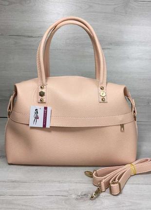 Розовая женская сумка саквояж пудровая летняя через плечо