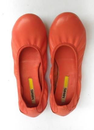 Manas коралловые стильные легкие кожаные балетки