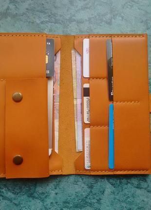 Кожаное портмоне-тревелкейс/кошелёк/гаманець. ручная работа. рыжий