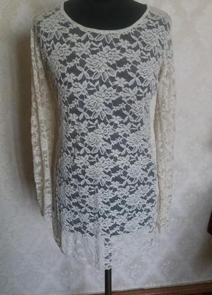 Кремовое платье, гипюр италия