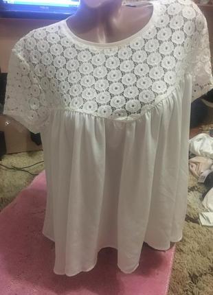 Шикарная белоснежная блуза kiabi с ажурным верхом