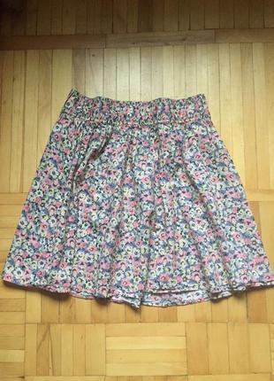 Новая летняя юбка солнце h&m, цветочный принт, 100% коттон
