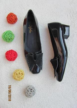 Туфельки cebalu из лакированной кожи темно синего цвета