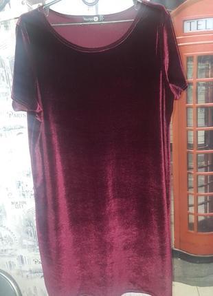 Крутое велюровое платье boohoo - 16 р-р - можно с 12 по 16 - цвет марсала