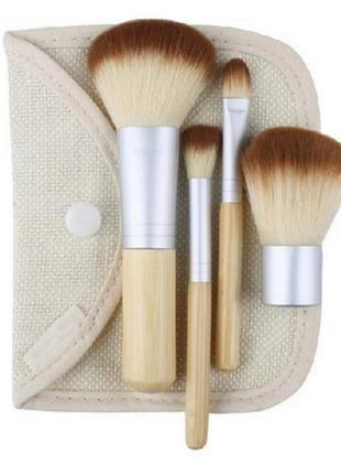 Кисти для макияжа набор эко бамбук 4 шт в чехле с кнопкой  видео обзор