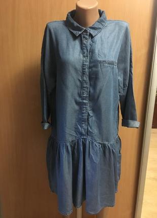 Джинсовое платье  туника рубашка  с воланом размер 12
